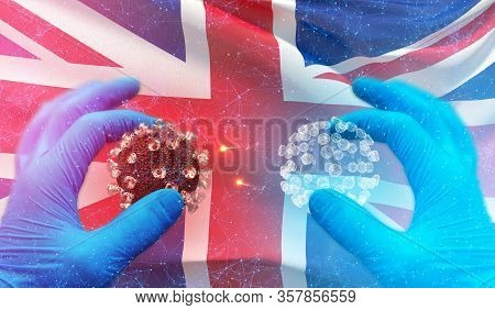 Medical Molecular Conceptwith Backgroung Of Waving National Flag Of Uk. Pandemic 3d Illustration.