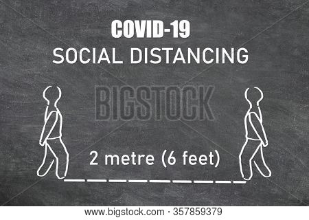 Coronavirus SOCIAL DISTANCING instructions illustration on blackboard with text. Maintain a physical space for two meters or 6 feet between each person.