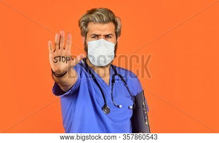 Protective Mask. Open Palm Stop Gesture. Danger Zone. Stop Epidemic. Virus Concept. Epidemic Infecti