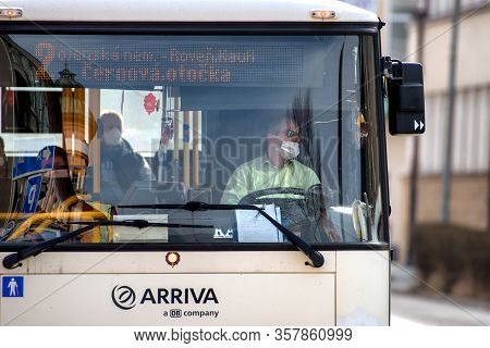 Ruzomberok, Slovakia - March 26: Bus Driver And Passengers With Face Mask On March 26, 2020 In Ruzom