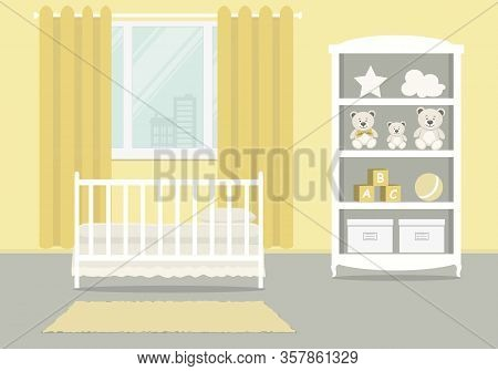 Yellow Kid's Room For A Newborn Baby. Bedroom Interior For A Small Child. There Is A Cot, A Wardrobe