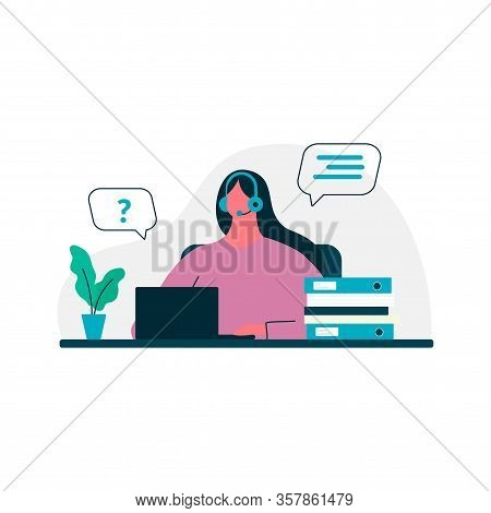 Home Office Concept, Woman Working From Home, Student Or Freelancer With Laptop. Chatting, Home Work
