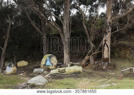 Aquitania, Boyaca / Colombia: April 9, 2018: Legendary Characters Painted On Rocks And Virgin Of Car
