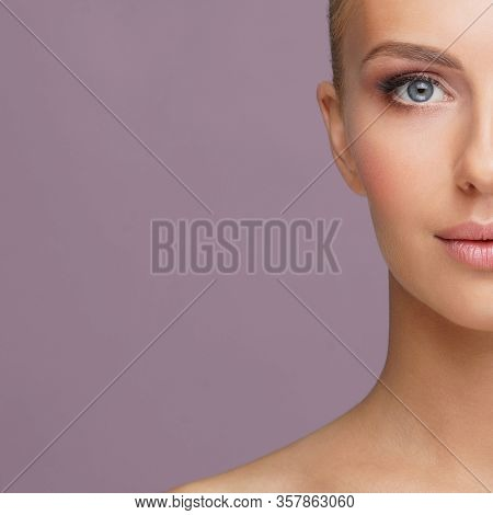 Beauty Portrait Of Healthy And Attractive Woman. Human Face In A Concept Of Spa, Skin Care, Cosmetic