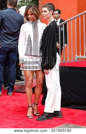 LOS ANGELES - MAY 14:  Halle Berry, Asia Kate Dillon at the Keanu Reeves Hand and Foot Print Ceremony at the TCL Chinese Theater IMAX on May 14, 2019 in Los Angeles, CA