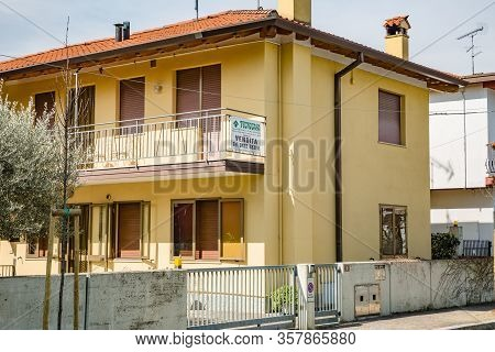 Manzano, Italy - 25.03.2020: Little Italian City During An Epidemic. No One On The Street. House For