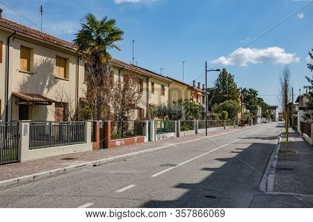 Manzano, Italy - 25.03.2020: Little Italian City During An Epidemic. Deserted Streets. No People. No