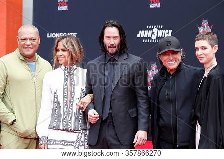 LOS ANGELES - MAY 14: Laurence Fishburne, Halle Berry, Keanu Reeves, Ian McShane, Asia Kate Dillon at the Keanu Reeves Print Ceremony at the TCL Chinese Theater IMAX on May 14, 2019 in Los Angeles, CA