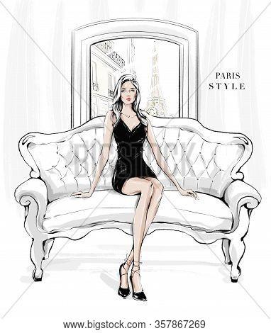 Hand Drawn Young Woman Sitting On Sofa Near Window. Fashion Blonde Hair Girl In Black Dress. Stylish