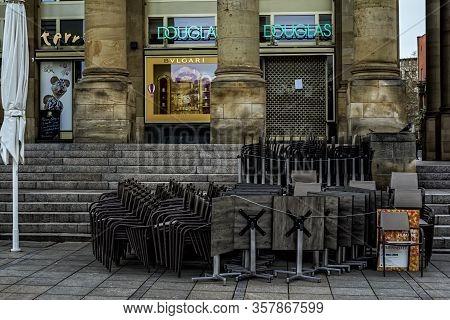 Stuttgart,germany - March 26,2020:koenigstrasse The Shops And Restaurants In Koenigsbau Were Closed