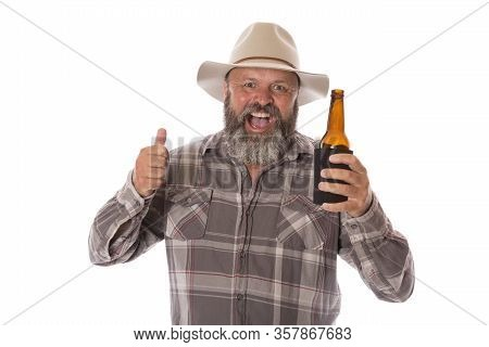 An Aussie Man Celebrating With A Cold Beer.