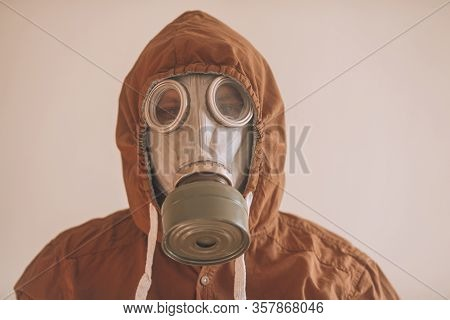 Gas Mask Close Up. Portrait Of A Man In Gas Mask. Concept: Protection Against Coronavirus, Chemical