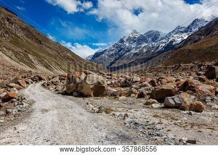 Dirt road in Himalayas. Lahaul Valley, Himachal Pradesh, India India