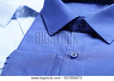 Closeup View Of Stylish Shirts. Dry-cleaning Service