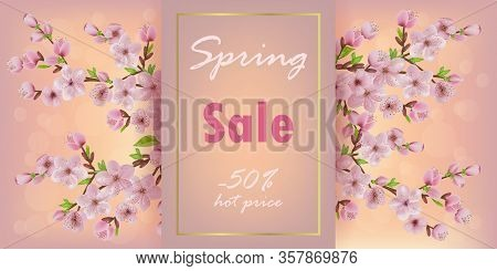 Branches Of Blooming Cherries On A Shining Background With Bokeh. Spring Sale Banner With Cherry, Sa