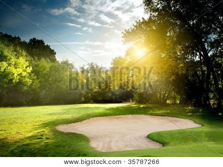 Irish idyllic golf course in summer time