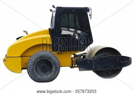 Steamroller Construction Compactor Side View White Background