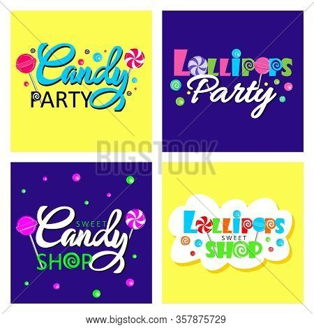 Sweet Candy Shop Logo Design Vector Template Set. Lollipops Bon-bon Store Logotype Concept Icon. Bri