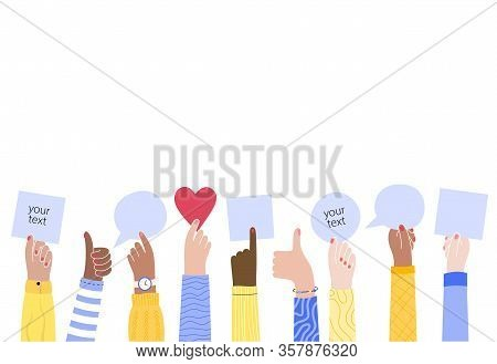 Vector Isolated Illustration Of Woman Multiracial Hands Holding Empty Sign.s User Experience And Rev