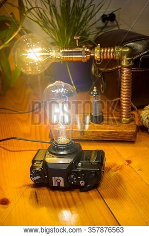 Light Fixtures Handmade In Vintage Style, Retro Film Slr Camera Case And Wooden Case,