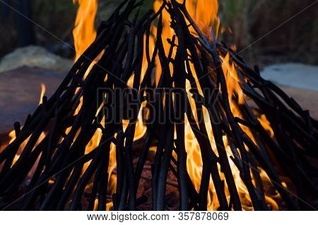 Close Up Photo Of A Bonfire Outdoors In The Evening