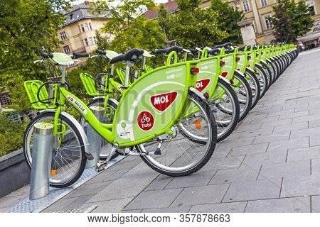 Budapest, Hungary - May 28, 2017: Row Of Bicycles On The Docking Station Of Bubi (officially: Mol Bu