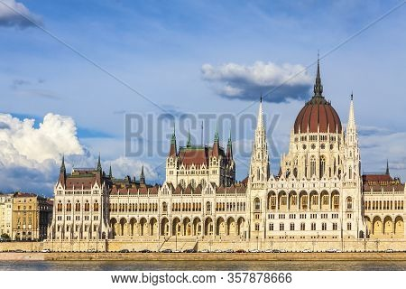 Building Of The Hungarian National Parliament In Budapest, Hungary. Notable Landmark Of Hungary, And