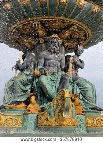 Fountain of the Seas detail, Concorde Square, Paris, France - Fontaine des mers, place de la Concorde, Paris