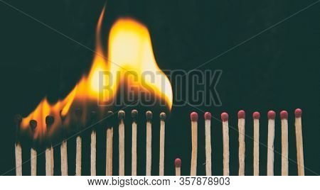 A lot of burnt matchsticks and one matchstick prevents following burning. Concept of stop spreading coronavirus and stay at home