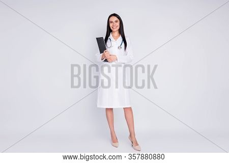 Full Body Photo Of Cheerful Professional Doctor Lady Rehabilitation Clinic Holding Patient Prescript