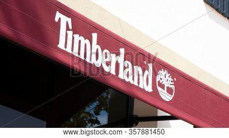 Palma de Mallorca, Spain - September 23, 2017.  Timberland store sign. Timberland LLC is an American manufacturer and retailer of outdoors wear, with a focus on footwear.