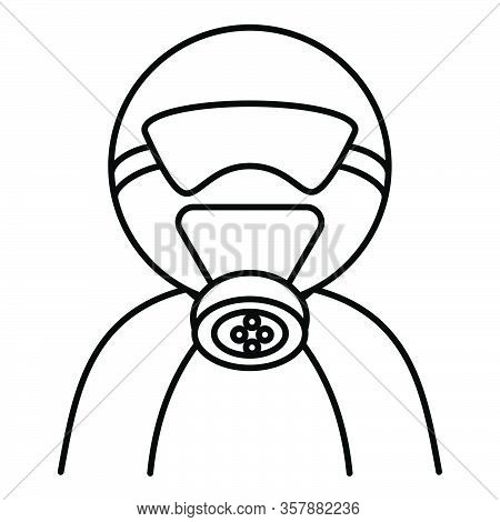 Person Wearing A Gas Mask For Protection Against Virus And Other Biohazard Threats. Vector Illustrat