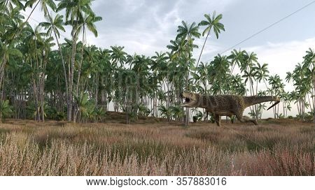 3d rendering of the hunting young tyrannosaurus