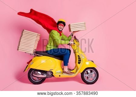 Profile Side View Of His He Nice Attractive Funky Cheerful Cheery Ecstatic Guy Driving Moped Fast Sp