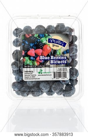 Winneconne,  Wi - 24 March 2020:  A Package Of Millies Berries Blueberries On An Isolated Background