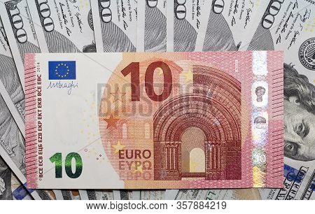 The Front Side Of The Obverse Of The European Euro And Dollar Cash, The Denomination Of The Bill Is