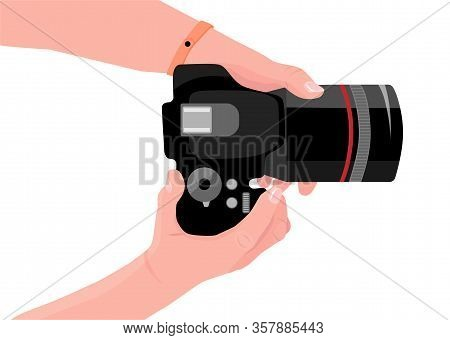 Hands With Photo Camera. First-person View. Copy Space For Your Own Pictures. Digital Photo Camera.