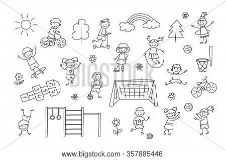 Active Sport Children. Funny Small Kids Play, Run And Jump. Set Of Elements In Childish Doodle Style