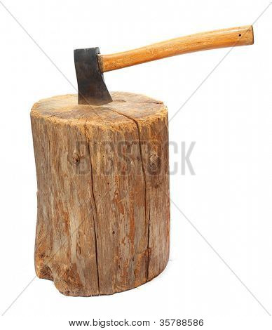 Log fire wood and old axe. Renewable resource of a energy. Environmental concept.