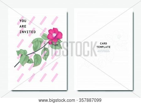 Botanical Invitation Card Template Design, Red Japanese Camellia Flowers And Leaves With Pink Obliqu