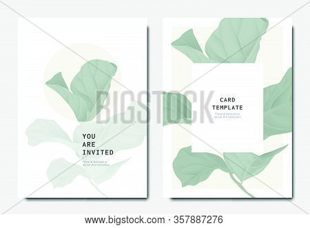 Botanical Invitation Card Template Design, Green Fiddle Leaf Fig On Grey And White Background, Minim