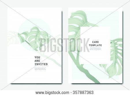 Botanical Invitation Card Template Design, Green Split-leaf Philodendron Plant On Blue And White Bac