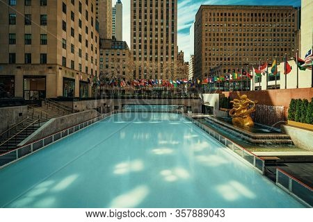 NEW YORK, USA - MARCH 21, 2020: Empty street at Rockefeller skate rink as the result of COVID-19 coronavirus pandemic outbreak in New York City.
