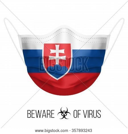 Medical Mask With National Flag Of Slovakia As Icon On White. Protective Mask Virus And Flu. Surgery