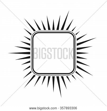 Square With A Double Frame And Rays, An Empty Outline. Simple Stock Illustration