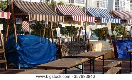 Alora, Spain - February 16, 2020: Market Stalls At Dawn In Alora Open Square Ready For Annual Cheese