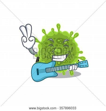 Supper Cool Coronavirus Cartoon Playing A Guitar