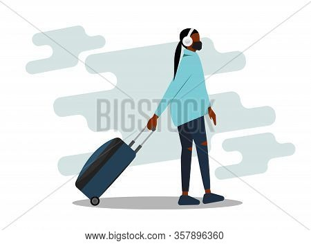 African-american Woman Wearing Face Mask Travelling Aboard Vector Illustration. Covid-19 Coronavirus