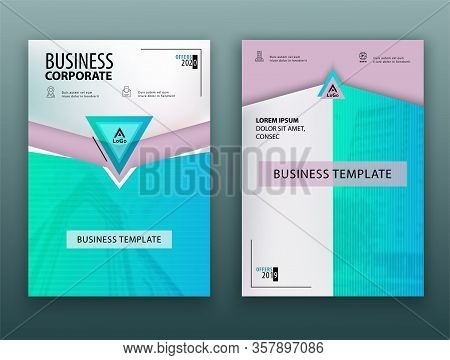 Blue Green Business Template. Flayer Or Advertising Abstract Background For Delivery, Energy Busines