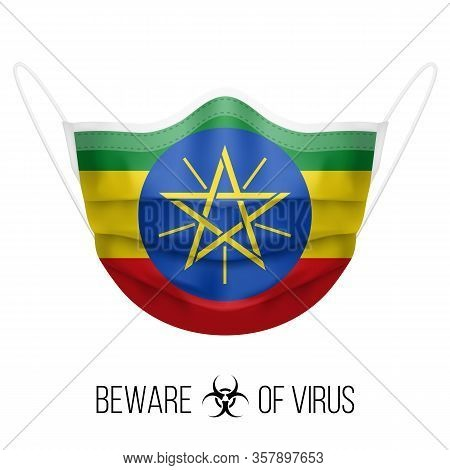 Medical Mask With National Flag Of Ethiopia As Icon On White. Protective Mask Virus And Flu. Surgery